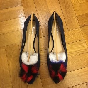 Franco sarto navy flats with Pom Pom on toe